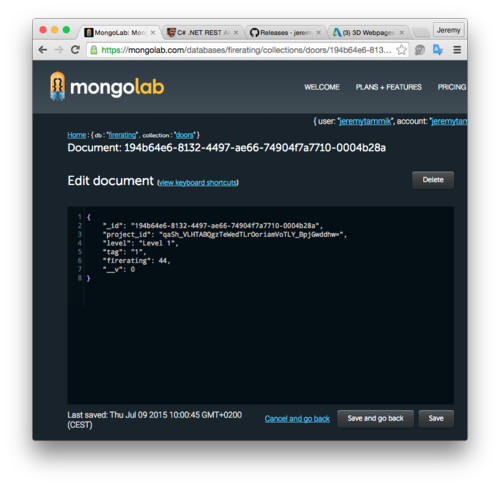 FireRating database on mongolab
