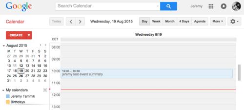 New Google calendar entry